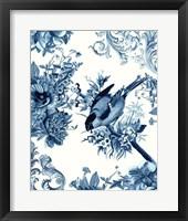 Bird & Branch in Indigo I Framed Print