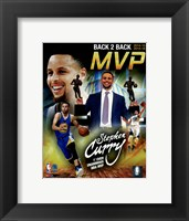 Framed Stephen Curry 2016 Back to Back MVP Portrait Plus