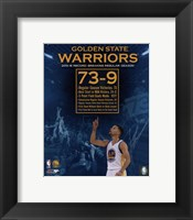 Framed Golden State Warriors record breaking regular season 73-9