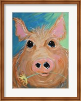 Framed Pig with Yellow Flower