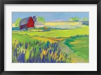 Framed Red Barn Landscape