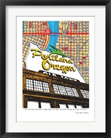 Framed Oregon Map Sign Old Town Portland