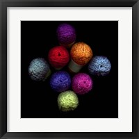 Framed Colourful Balls Of Wool