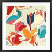 Framed Cloisonne Tulipe II Turquoise and Indigo Vignette