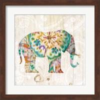 Framed Boho Paisley Elephant I