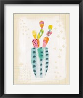 Framed Collage Cactus I on Graph Paper