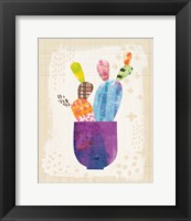 Framed Collage Cactus III on Graph Paper