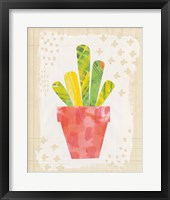 Collage Cactus VI on Graph Paper Framed Print