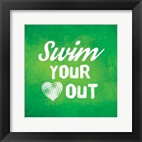 Framed Swim Your Heart Out - Green Vintage