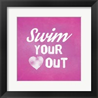 Framed Swim Your Heart Out - Pink Vintage