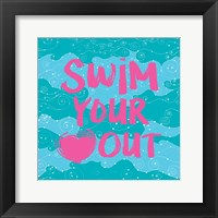 Framed Swim Your Heart Out - Teal Pink