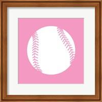 Framed White Softball on Baby Pink