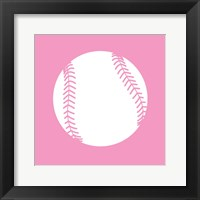 Framed White Softball on Baby Pink