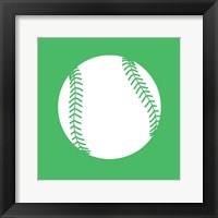 Framed White Softball on Green