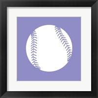 Framed White Softball on Purple