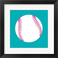 Framed White Softball on Teal