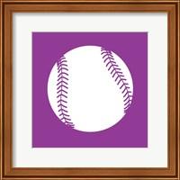 Framed White Softball on Violet