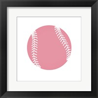 Framed Baby Pink Softball on White