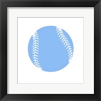 Framed Blue Softball on White