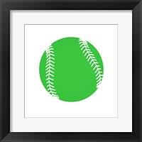 Framed Green Softball on White