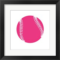 Framed Pink Softball on White