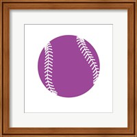 Framed Violet Softball on White
