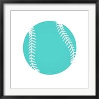 Framed Teal Softball on White