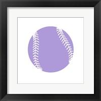 Framed Purple Softball on White