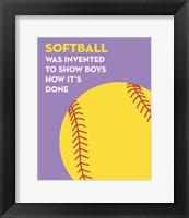 Framed Softball Quote - Yellow on Purple
