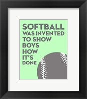 Framed Softball Quote - Grey On Mint