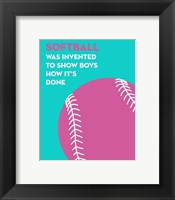 Framed Softball Quote - Pink on Teal