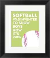 Framed Softball Quote - White on Lime