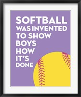 Framed Softball Quote - Yellow on Purple 2