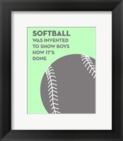 Framed Softball Quote - Grey On Mint 2