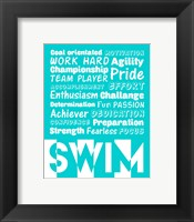 Framed Swimming Word Cloud - White