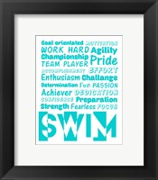 Framed Swimming Word Cloud - Teal