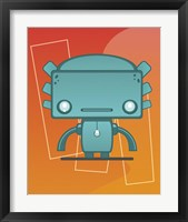 Framed Retro Robot Aqua