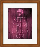 Framed Keep Calm and Gallop On - Pink
