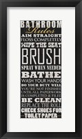 Framed Bathroom Rules (Black)