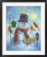 Framed Birds Lover Snowman