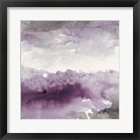 Midnight at the Lake II Amethyst and Grey Framed Print