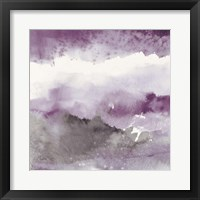Midnight at the Lake III Amethyst and Grey Framed Print