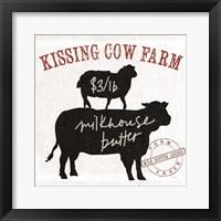 Farm Linen Cow Black Framed Print