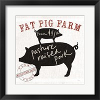 Farm Linen Pig Black Framed Print