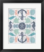 Coastal Otomi I on Wood Framed Print