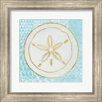 Framed Summer Shells I Teal and Gold