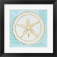 Summer Shells I Teal and Gold Framed Print