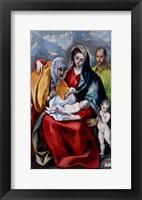 Framed Holy Family with Saint Anne, Saint Joseph and the child Saint John the Baptist