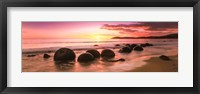 Framed Boulders on the Beach at Sunrise, Moeraki, New Zealand