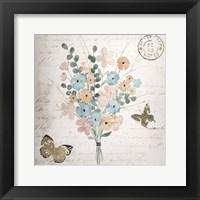 Gilded Fleurs Pastel II - Metallic Foil Framed Print